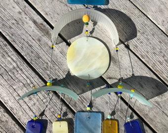 Coastal Glass Wind Chime, Recycled, Wine Bottle, WindChime, Wedding, Beach Glass,Glass,Blue, Chime, Wind Chime.