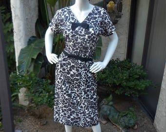 Vintage 1950's Black and White Print Dress - Size 12