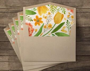 Bouquet lined envelopes - 10 pieces