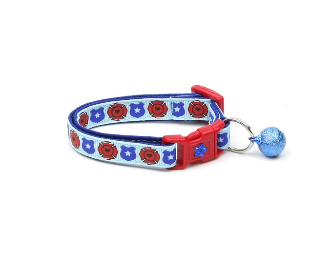 Police & Firefighter Collar - Fire and Police Badges on Blue - Kitten or Large Size - Breakaway Cat Collar