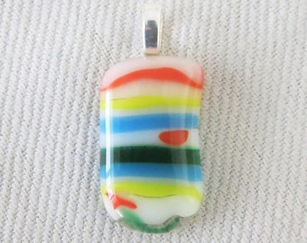 Fused glass pendant, fun horizontal stripes