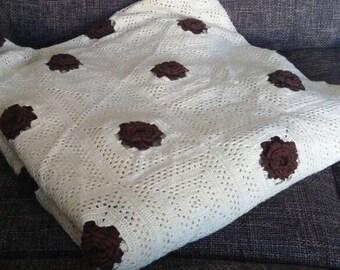 Large vintage crochet blanket