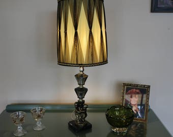 Hollywood Regency Lamp with Shade, Retro Lamp and Drum Shade, Brass Cherub Lamp on Marble Base, Smoked Crystal Lamp and Silk Shade