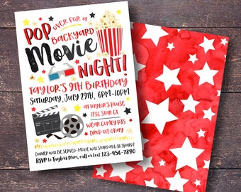 Movie night birthday invitation outdoor movie party girl movie birthday invitation backyard movie invitation movie night invitation outdoor movie invitation stopboris Image collections