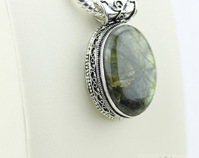 Labradorite Vintage Filigree Setting 925 S0LID Sterling Silver Pendant + 4mm Snake Chain p2619