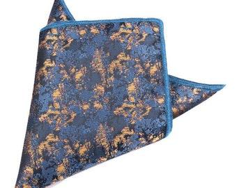 Gold/Blue Metallic Pocket Square | gold handkerchief | blue pocket square | gold pocket squares | metallic handkerchief | mens handkerchief