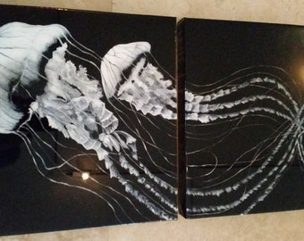 """Jellyfish Painting Acrylic on Canvas with Epoxy Resin Finish 15"""" x 30"""" All Edges Finished Ready to Hang Original Art"""