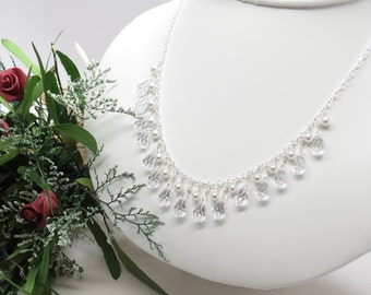 Bridal Necklace, Swarovski Pearls And Crystals Necklace, Crystal Necklace In Sterling Silver, Made By Keira's Crystal Creations