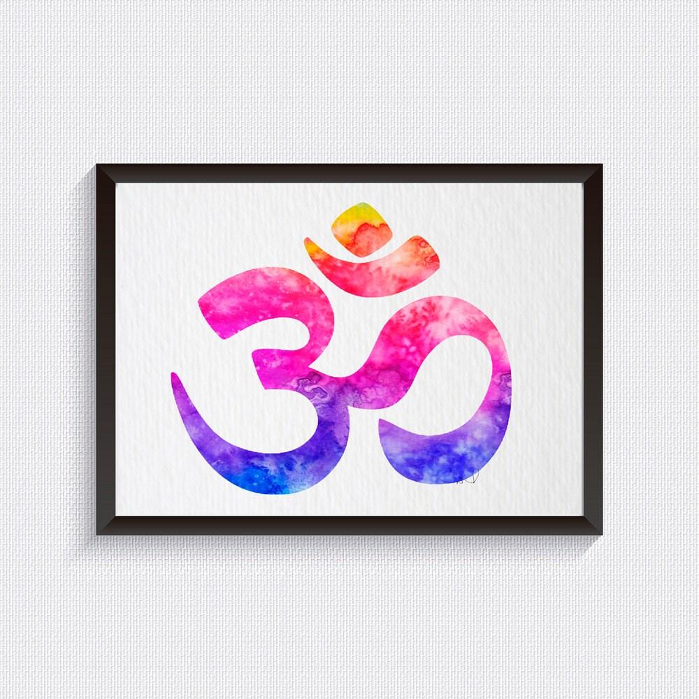Om Symbol Galaxy Meditation Watercolor Illustrations Art Print