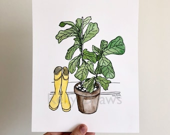 Fiddle Leaf Fig Houseplant Rainboots Watercolor Painting Letterpress Print Welcome Home Housewarming Plant Art