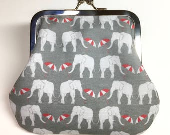 Kisslock Coin Purse - Elephant Strut