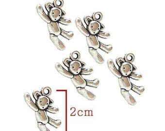 Silver bear charm pendant. Size 10X20mm to create a pendant, bracelet.. .bijoux. Set of 5Pcs