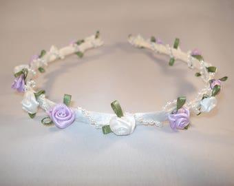 White & Lilac Flower Headband / Rosebud Floral + Pearl Headband for Wedding