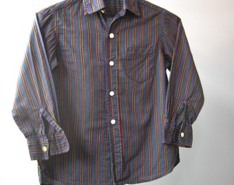 Boys (Toddler) Cotton Button Down Shirt / Vtg 60s / Boys Striped Cotton Shirt in blue, red, yellow, white