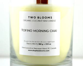 Tofino Chai Apricot wax wood wick Candles 13.5 oz, Natural Candle Victoria, BC Vancouver Island Canada