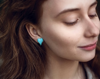 Blue Heart Polygonal Earrigns 3D printed