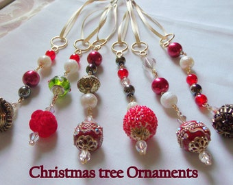 Beaded Christmas ornaments  handmade - crimson red icicles - holiday gift -  tree ornaments -  glass Christmas tree hangers - gold ornament