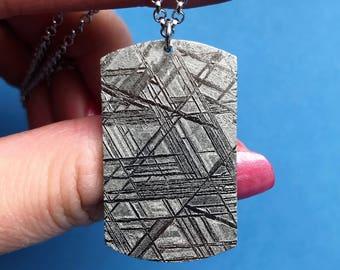 Muonionalusta Meteorite Widmanstatten pattern pendant, real meteorite necklace