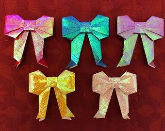 Medium Origami Bows (5 in 1 pack) made from shiny papers, shiny paper-fold bows for gifts, decors, craft supplies
