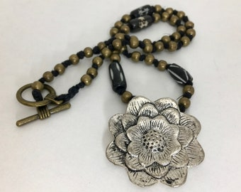 Lotus Pendant Beaded Knotted Cord Necklace