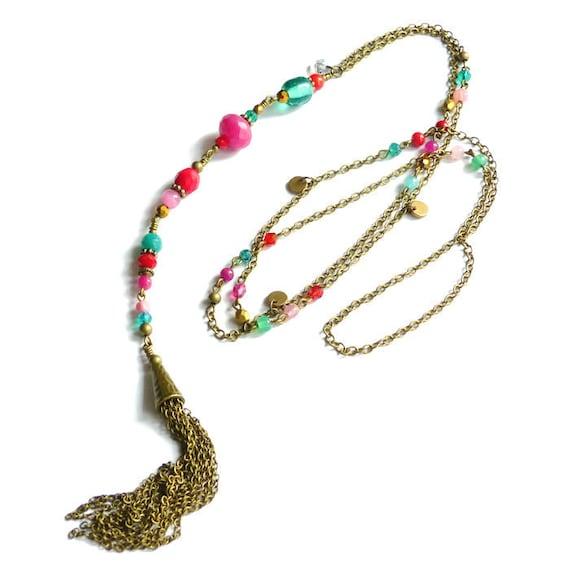 Colorful tassel necklace, Long tassel necklace, Boho necklace, Boho style jewelry, Colorful boho necklace, Bohemian necklace,