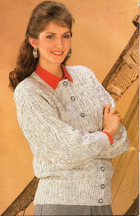 womens aran cardigan knitting pattern pdf ladies cable jacket