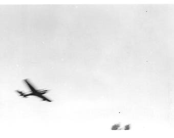"Vintage Photo ""Wild Blue Yonder"" Aircraft Flying Overhead Airplane Jet Blur Motion Abstract Found Vernacular Photo"