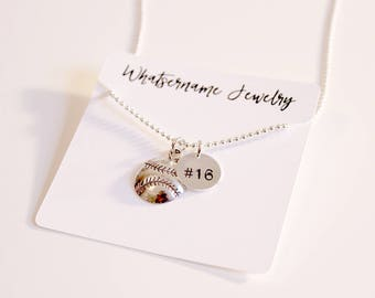 Baseball Softball with Hand Stamped Number Necklace, Silver Baseball Necklace, Silver Softball Necklace, Baseball Softball Jersey Necklace