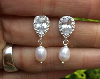 CZ stud Freshwater pearl drop Wedding Earrings Sterling Silver real Pearl bridal Earrings Ivory Pearl Earrings white pearl Bridal Jewelry