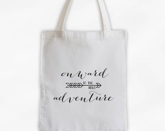 Onward to the Next Adventure Cotton Canvas Tote Bag with Arrow - Custom Travel Bag in Black and White (3023)