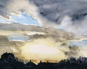 Cloud painting, Cloud watercolor, Sky painting,Sky watercolor, Skyscape,Clouds, sunset painting, sunset painting, Chimney tops, sundown