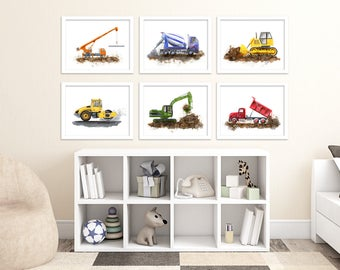 Kids Transportation Wall Decor - Construction Equipment Prints - Truck Nursery Art - Construction Prints - Excavator - Dozer - Crane - Dump