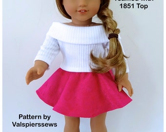 "Skater Skirt, Doll Clothes Pattern by Valspierssews, Bonus Hankie Skirt, Very Easy to Make, Fits 18"" dolls and 20"" doll"