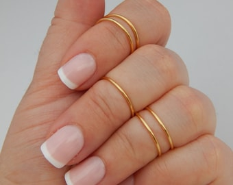 14k Gold Knuckle ring set 5 dainty thin midi rings 925 Sterling Silver Adjustable Silver Gold Rose Gold gift for sister daughter mothers day