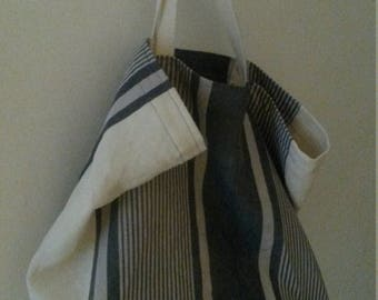 Large linen and ticking bag