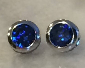 Sapphire September Birthstone Cushion Cut Stud Earrings with 18k White Gold Bezel Setting