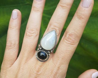 Moonstone & Black Onyx Dagger Ring