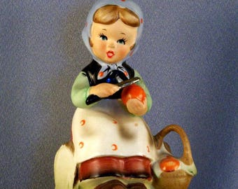 Original Arnart Creation // Hummel Look-Alike Figurine // Young Girl // Apple Paring // Designed by Erich Stauffer of Germany