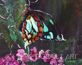 Butterfly on a Flower - Original Painting on Watercolor paper 12x16 Inches