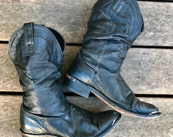Black leather 80s western cowboy boots womens US8