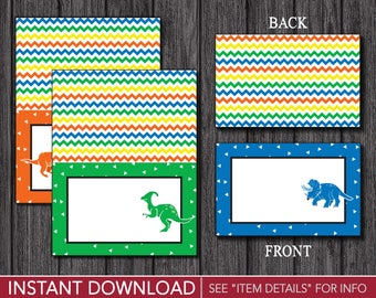 Dinosaur Birthday Tent Cards - Dinosaur Buffet Cards - Food Labels - Place Cards - Printable Digital File - INSTANT DOWNLOAD