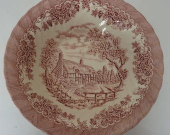 Churchill pink transfer vegetable bowl Staffordshire England The Brook