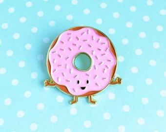 Donut Enamel Pin - food pun pink sprinkled doughtnut lapel