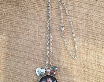 Handcrafted custom glass tile photo necklace /personalized