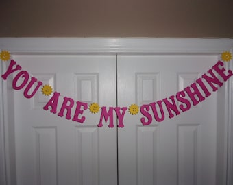 YOU ARE My SUNSHINE Letter Banner - Hot Pink, Yellow Cardstock Paper Sun Garland Girl Baby Shower Birthday Party Sign
