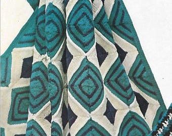 Vintage Diamond Granny Square Afghan Crochet Pattern PDF 1960