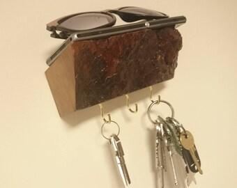 Rustic wooden three key hook / mini shelf with natural bark - wall mounted - hallway organiser