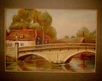 1930s Painting of a River and Bridge Vintage Art Watercolor Landscape Wall Hanging Home Decor
