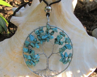 Tree Of Life Wire Wrapped Necklace Turquoise