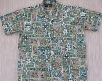 Hawaiian Shirt Men ROUNDY BAY Tropical Aloha Shirt Ukulele Tribal Tiki Mosaic Tiles Mod Funky Beach Party Shirt - L - Oahu Lew's Shirt Shack